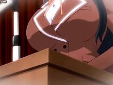 Грудастую аниме брюнеточку оттрахали в вагину и залили спермой