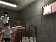 Очкастая 3D девчонка с хвостиками делает минет и ебётся с парнем