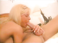 Hot blonde teases and blows cock