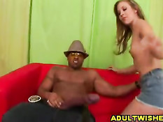 Blonde licking a black rubbercock