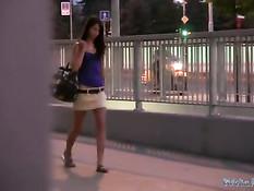 Молодая брюнетка дрочит член и трахается на улице ночного города