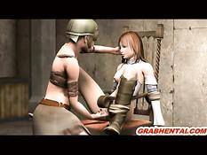 Привязанной к стулу 3d девке руками мастурбируют клитор и киску