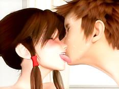Грудастая 3D девчонка с хвостиками отсасывает и ебётся с парнем