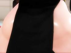 3D девка с большой грудью отсасывает и трахается с чёрным парнем