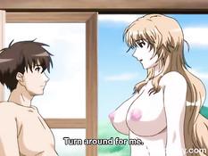 Грудастая хентай женщина отсасывает парнишке член и даёт в анал