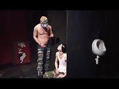 Гомосексуальные мужчины обоссали и оттрахали паренька в туалете