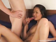 Азиатская девушка с пирсингом пупка на кровати отсасывает парню