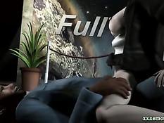 Чёрный мужик жёстко отъебал в гостинице грудастую 3D горничную