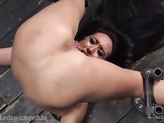 Брюнеточку оттрахали вибратором и отхлестали в станке для секса