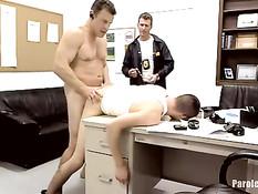 Молодому гею приходится отсасывать в офисе и подставлять очко