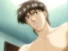 Мужчина в очках делает куннилингус и трахает в киску аниме девку