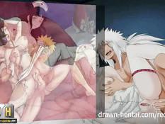 Naruto занимается групповым сексом с сисястыми хентай подругами