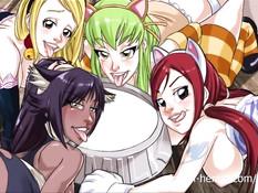 Сиськастые аниме подружки сквиртуют во время жёстких секс игр
