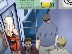Возбуждённый парень лапает и ласкает хентай девок в вагоне метро