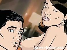 Аниме брюнетка ебётся с мускулистым парнем в гостиничном номере