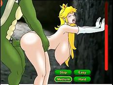 Аниме принцесса с огромными сиськами дрочит хуй рогатому монстру