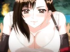Милая аниме девушка отсасывает и дрочит член большими сиськами
