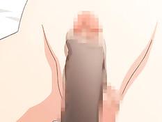 Сиськастая хентай женщина в чулках подрочила парню член ногой