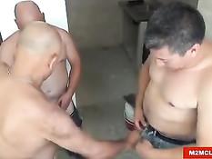 Пожилые рабочие геи делают ремонт и занимаются любовью втроём