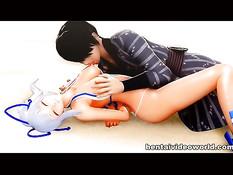 Ребята сделали двойное проникновение сексуальной 3D девчонке