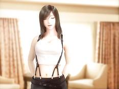 Развратный секс в разных позах с 3D девушкой Tifa из Final Fantasy