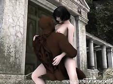 Сиськастая 3D красотка мастурбирует представляя секс с мужчиной