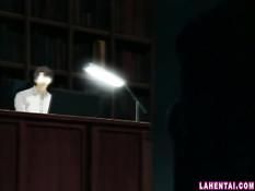 Хентай девчонка с голубыми волосами отсасывает парню в позе 69