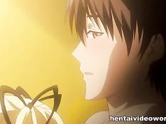 Светловолосая аниме девушка с хвостиками дрочит парню в ванной