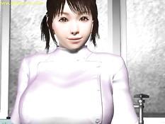 Грудастые 3D девушки раздеваются и сосут член в кабинете врача