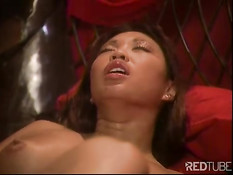 Hot asian pussy fucked in red