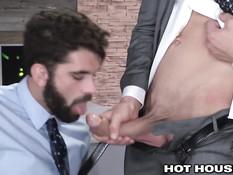 Солидные гомосексуальные мужчины занимаются сексом в офисе