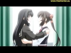 Две аниме лесбиянки ласкают друг дружку и играют со щупальцами