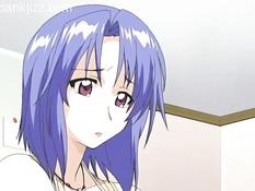 Парень ебёт хентай девку с голубыми волосами вибратором и членом