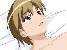 Паренёк трахает на кровати сразу двух похотливых хентай девушек