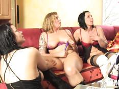 Секс двух мужчин свингеров с тремя похотливыми домохозяйками