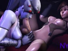 3D девушка WidowMaker из игры Overwatch отсосала член у Tracer