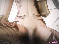 Красивый секс с татуированной 3d девушкой с голубыми волосами
