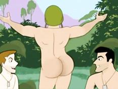 Спортивные мужчины занимаются любовью в мультфильме для геев