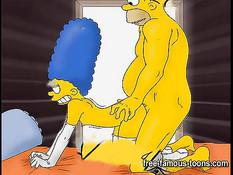 Сексуальная Marge Simpson трахается с персонажами мультфильма