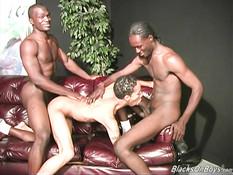 Смуглый парень подрочил члены двум чёрным геям и подставил зад
