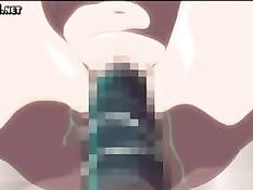 Приятель трахает на кровати в позе раком очкастую аниме подругу