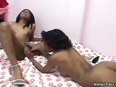 Молодые чёрные лесбиянки отлизывают киску и вставляют вибратор