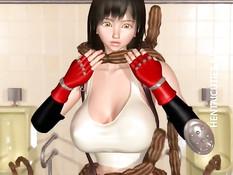 3D девку с большой грудью в туалете обвили и оттрахали щупальцы