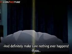 Две развратные аниме подружки будят парня и занимаются сексом