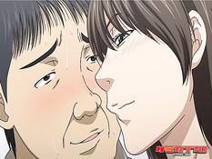 Очкастая хентай секретарша сосёт у мужика член и ебётся в офисе