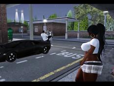 Мускулистые ребята отодрали 3D девушку на автобусной остановке