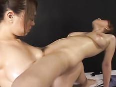 Две грудастые азиатские лесбиянки трахаются в разных позициях