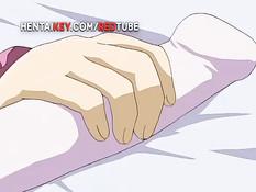 Две аниме девки по очереди заходят в спальню и ебутся с парнем