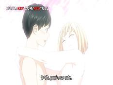 Милая аниме блондинка на кровати занимается любовью с парнем