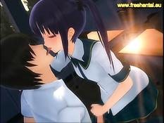 Сексуальная аниме девка вошла в аудиторию и соблазнила парня